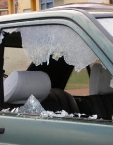 Broken windshields car